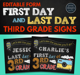 Editable First Day of School Sign & Last Day of School Sign • THIRD GRADE