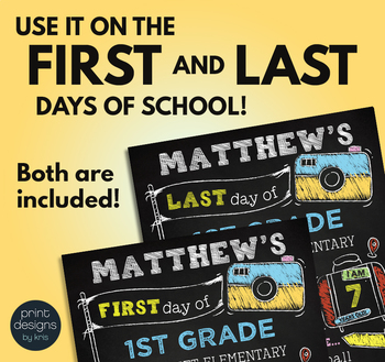 Editable First Day of School & Last Day of School Chalkboard Sign • TRAVEL THEME