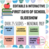 Editable First Day of School Slideshow - Pastel Border for