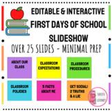 Editable First Day of School Slideshow - Rainbow Border fo