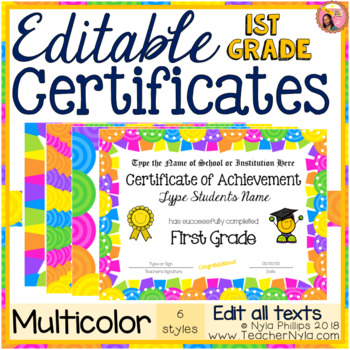 Editable First Grade Certificates for End of Year - Bright Multicolor