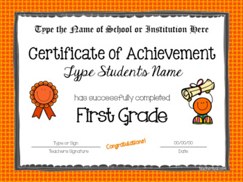 Editable First Grade Certificates for Graduation - Bright Borders