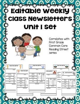 Editable First Grade Class Newsletters - Unit 1 set