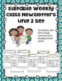 Editable First Grade Class Newsletters - Unit 2 set