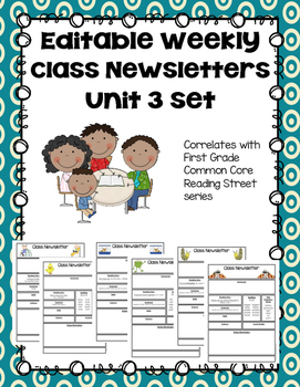 Editable First Grade Class Newsletters - Unit 3 set