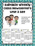 Editable First Grade Class Newsletters - Unit 3 set