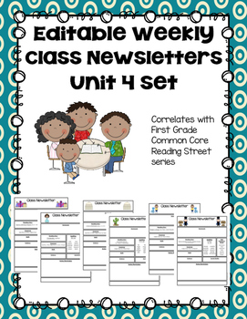Editable First Grade Class Newsletters - Unit 4 set