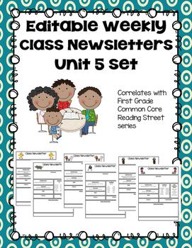 Editable First Grade Class Newsletters - Unit 5 set