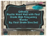 Editable First Grade Classroom Word Wall