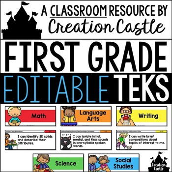 Editable First Grade TEKS - Standards Statements with Visual Support