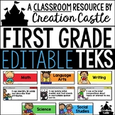 Editable First Grade TEKS - Standards Statements with Visu
