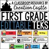 Editable First Grade TEKS - Standards Statements with Visu