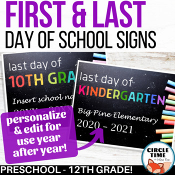 Printable First Day of School Sign, EDITABLE, 1st Day School 2019-20