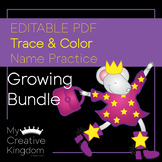 Editable PDF Trace and Color Name Practice Growing Bundle
