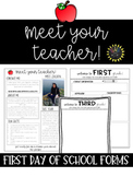 Editable First day of School Forms {Template}