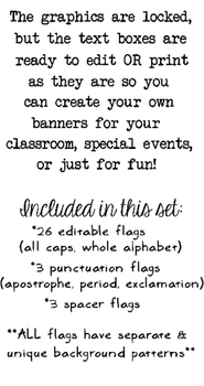 Editable Flag Banners for Classroom, Birthdays, & More!