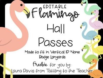 Editable Flamingo Hall Pass Freebie