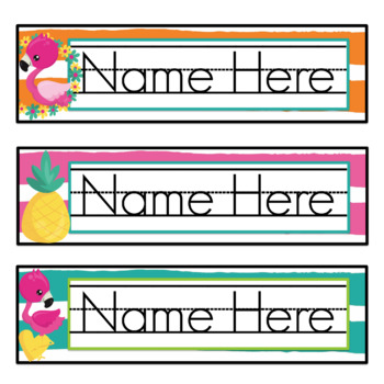 Editable Flamingo Nametags