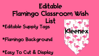 Editable Flamingo Wish List Tags