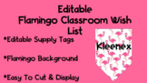 Editable Flamingo Wish List Tags