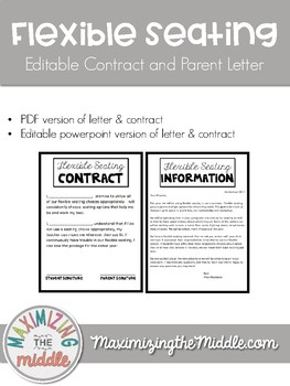 Editable Flexible Seating Contract & Parent Letter