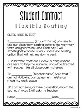 Editable Flexible Seating Parent Letter and Student Contract