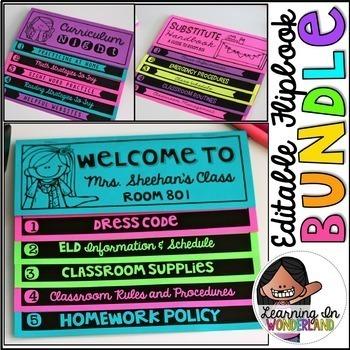 Open House | Meet the Teacher Editable Flip book Bundle {No Cut Flipbook}