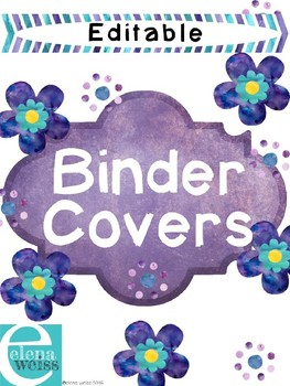 Editable Floral Binder Covers with Chevron Spines