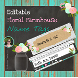 Editable Floral Farmhouse Name Tags - 5 Different Types