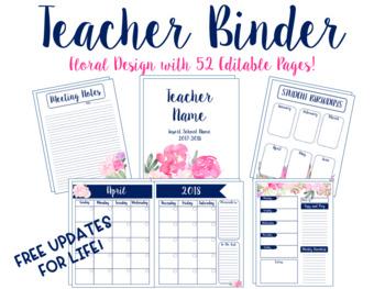Editable Floral Teacher Binder