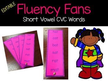 Editable Fluency Fans CVC short vowel words