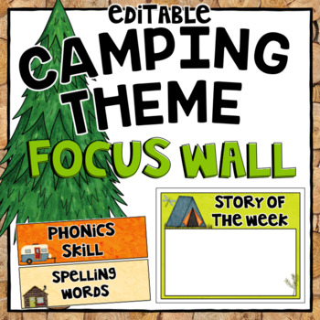 Editable Focus Wall | Reading | Camping Theme Classroom Decor
