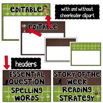 Editable Focus Wall | Reading | Football Theme Classroom Decor