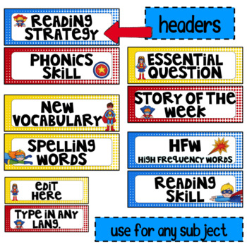 Editable Focus Wall | Reading | Superhero Theme Classroom Decor