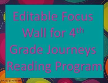 Editable Focus Wall for 4th Grade Journeys Reading Program