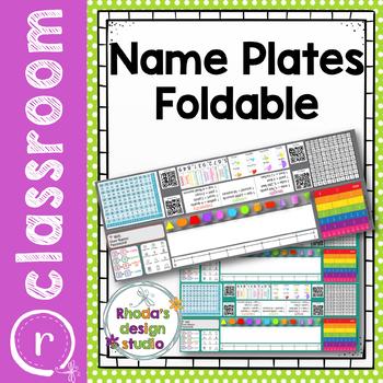 Editable Name Plates Math Foldable with Tech and Math Skills