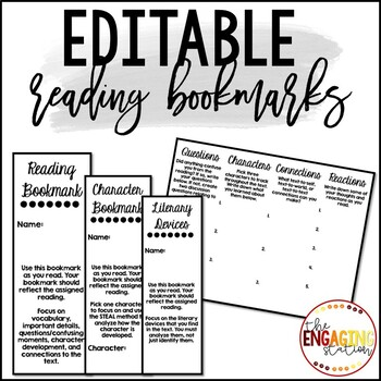 Editable Foldable Reading Bookmarks