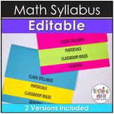 Syllabus Editable Template Math