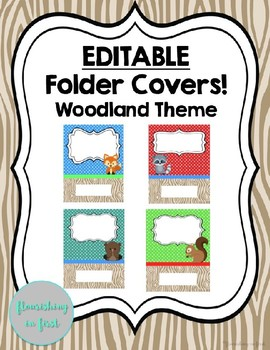 Editable Folder Covers - Woodland Theme