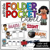 Editable Folder Pocket Labels ( color and black/white options)