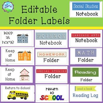 Editable Labels for Folders/Take Home Folders