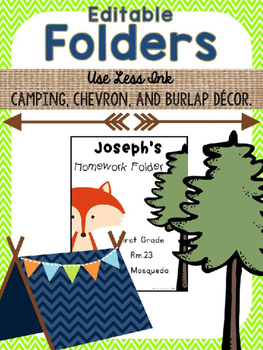 *FREEBIE* Editable Folders {Camping, Burlap, Chevron}