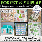 Editable Forest and Shiplap Classroom Decor Bundle