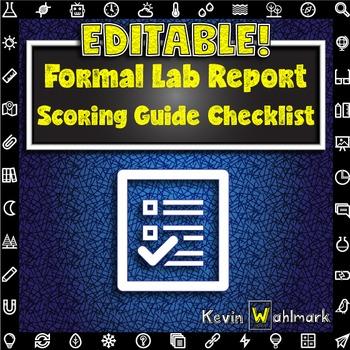 Editable Formal Lab Report Scoring Guide Checklist