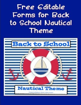 Editable Forms for Back to School Nautical Theme
