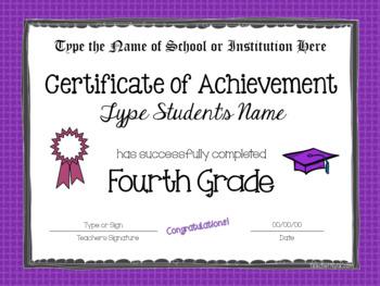 Editable Fourth Grade Certificates for Graduation - Bright Borders