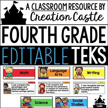 Editable Fourth Grade TEKS - Standards Statements with Visual Support