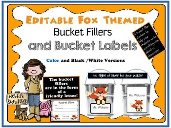 Editable Fox Themed Bucket Fillers and Labels