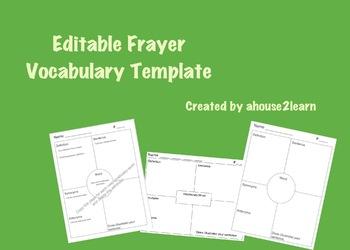 Editable Frayer Vocabulary Template