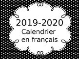 Editable French Calendars 2019-2020/Calendriers en francais